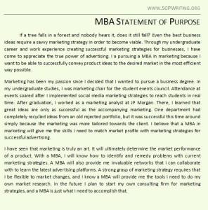 MBA Statement of Purpose Example