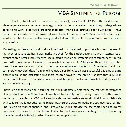 statement of purpose for mba mba statement of purpose sample mba statement of purpose example