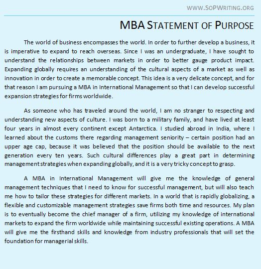 statement of purpose sop for mba admissions