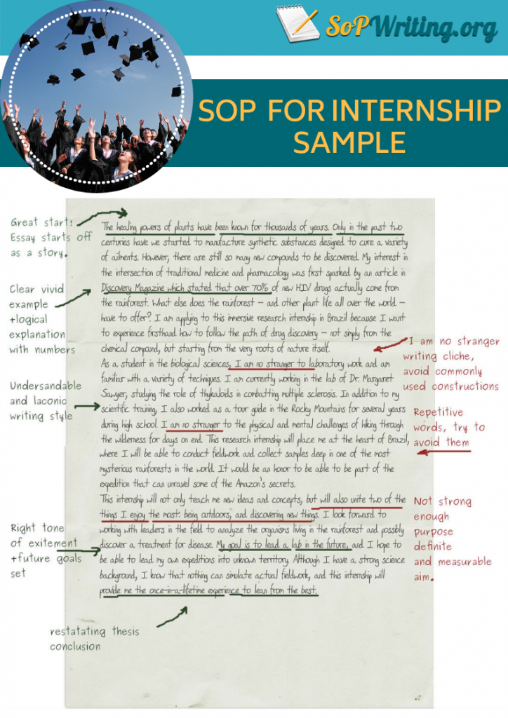 sample of sop for internship