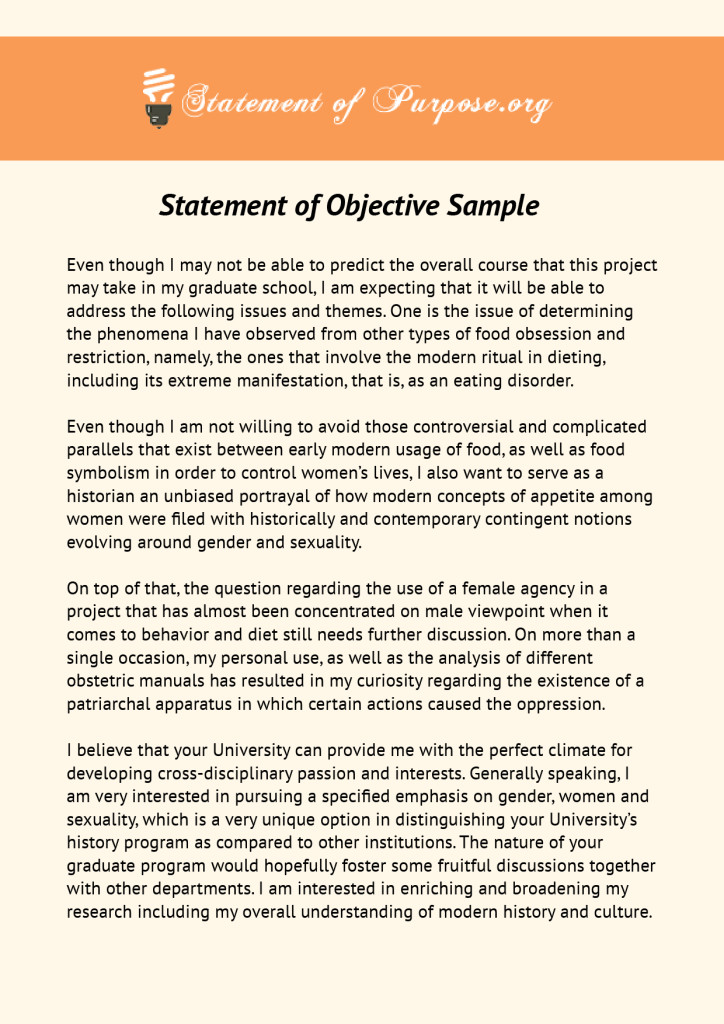 statement of objective sample