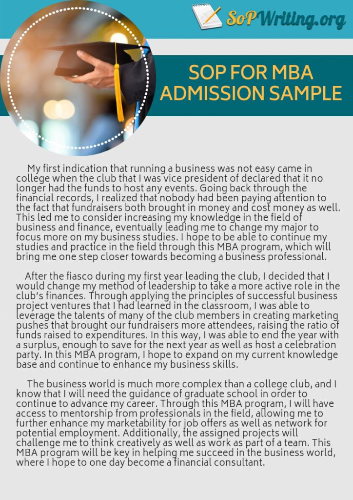 sample statement of purpose for mba admission