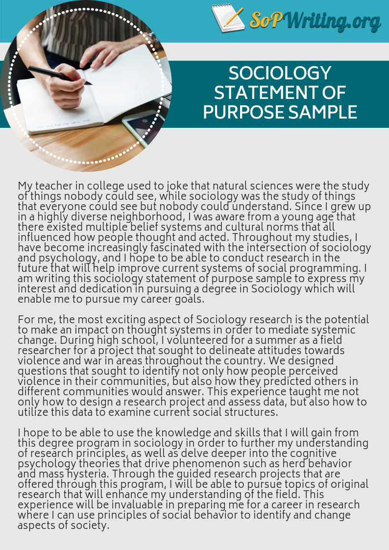 sociology statement of purpose sample