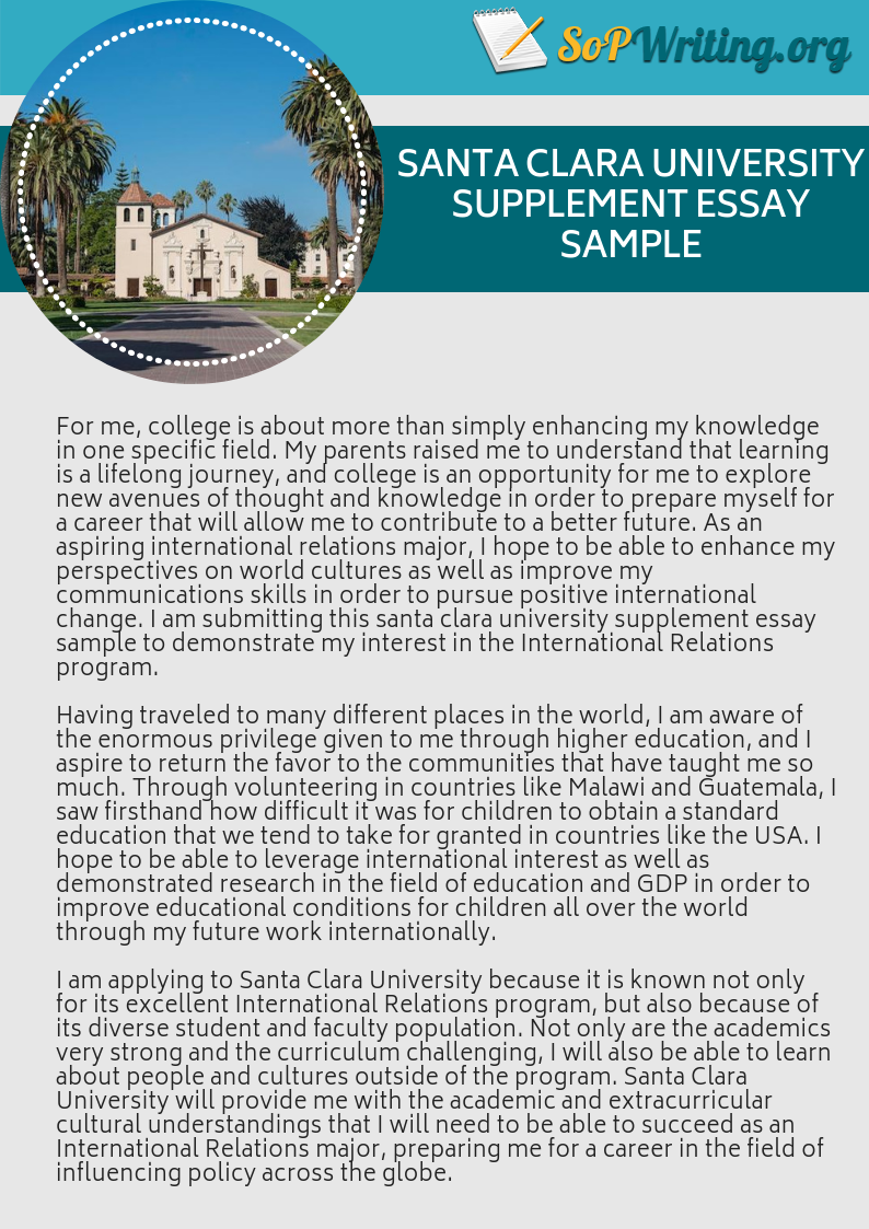 Get The Best Santa Clara University Supplement Essay Best Santa Clara University Essay Prompt Writing Tips