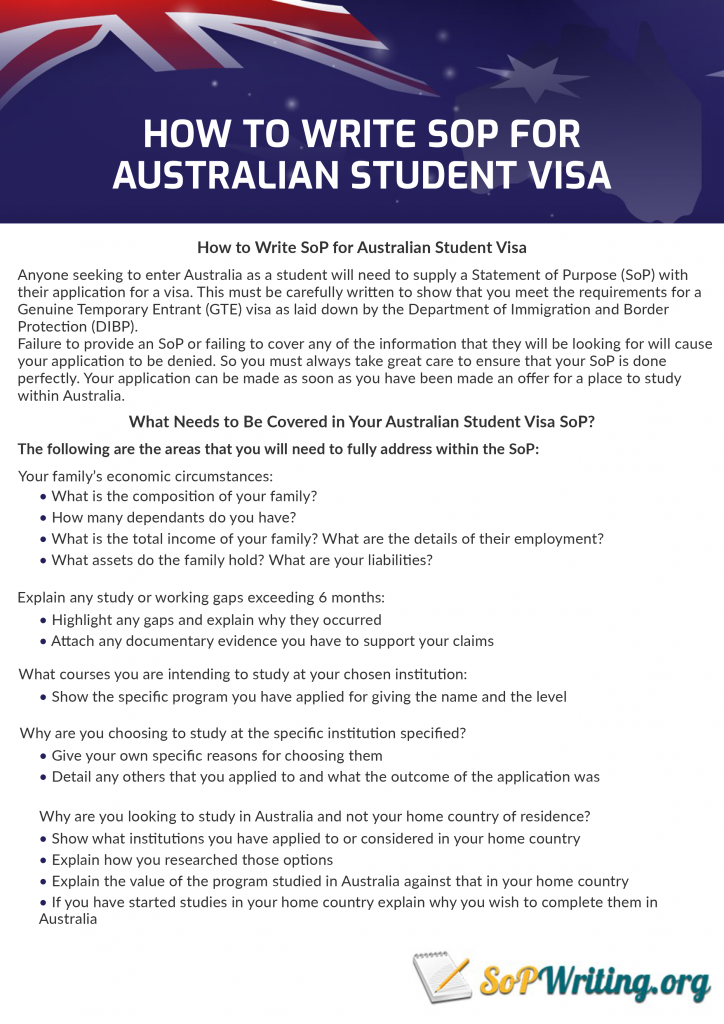 guide on how to write sop for australian student visa