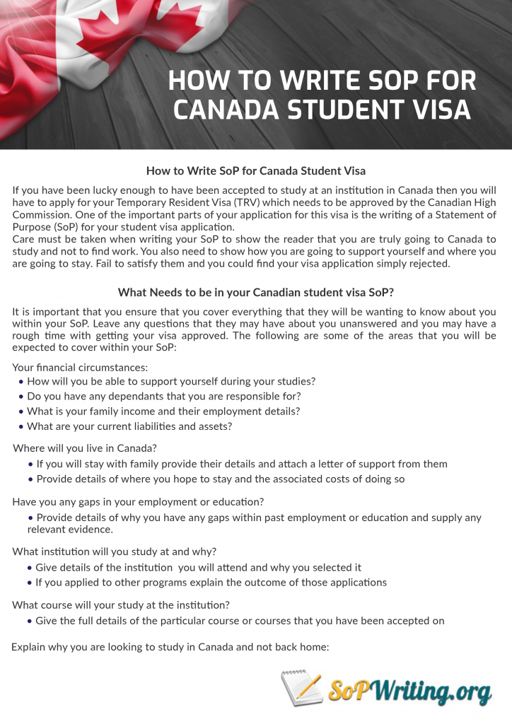guide on how to write sop for canada student visa
