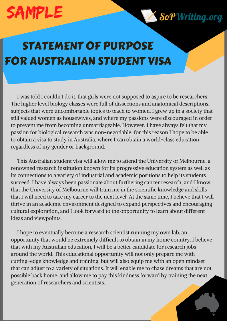 sample sop for australian student visa