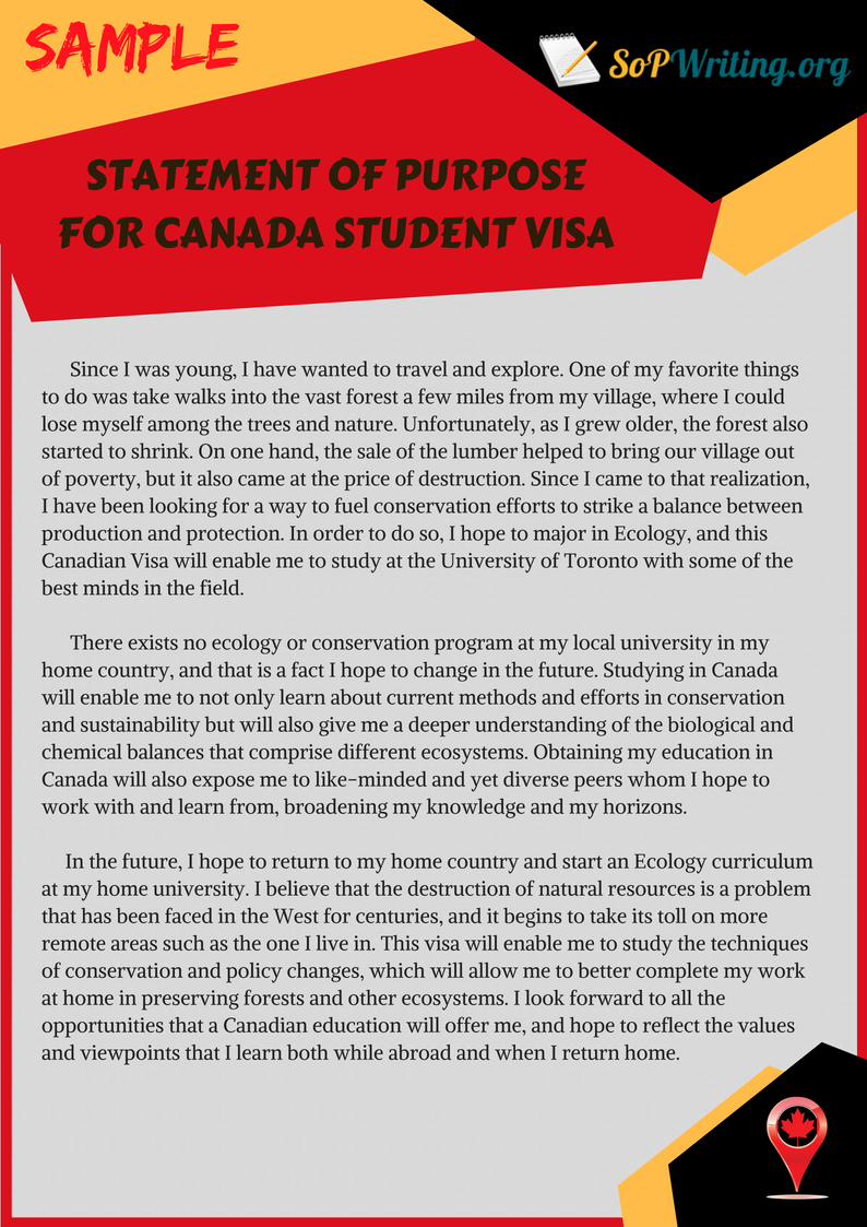 statement of purpose for canada student visa sample