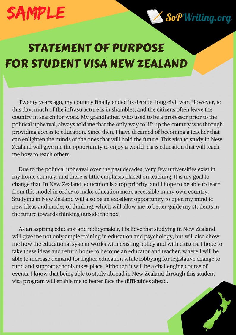 sop for student visa to newzealand Duration for the same time as your partner's student visa  you don't need to  have a new zealand job offer to apply you can't include dependent children in.
