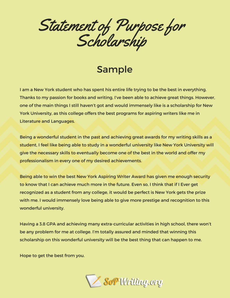 Statement of Purpose for Scholarship Sample