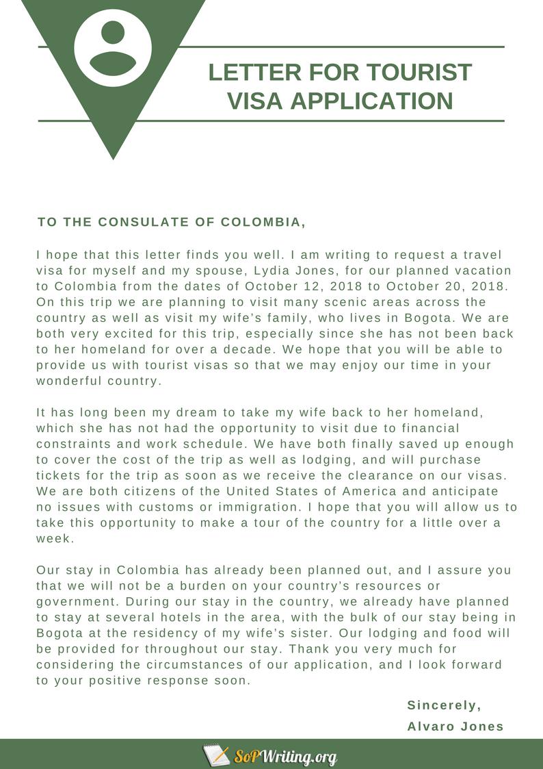 sample cover letter for tourist visa application