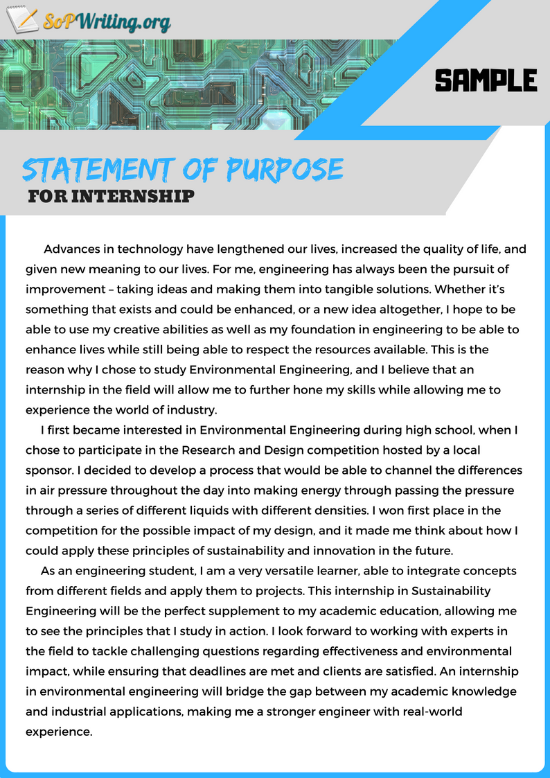 Sample SoP for Internship