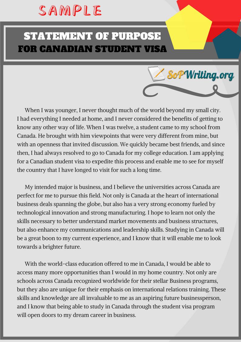 sample statement of purpose for canadian student visa